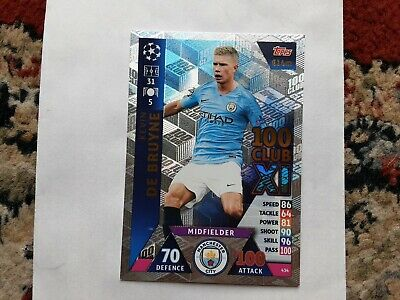 2018-19 Topps UEFA Champions League Match Attax #434 Kevin De Bruyne 100 Club XI