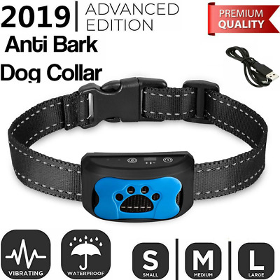 Rechargeable Dog Anti Bark Collar Training with Adjustable Vibration Sound S/M/L