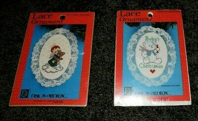 2 Cross Stitch Kits Lace Ornaments 1st Christmas Baby Angel Teddy Bear Easy Tree