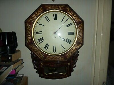 Antique Octagonal Inlaid Boulle 8 Day Single Fusee Drop Dial Wall Clock