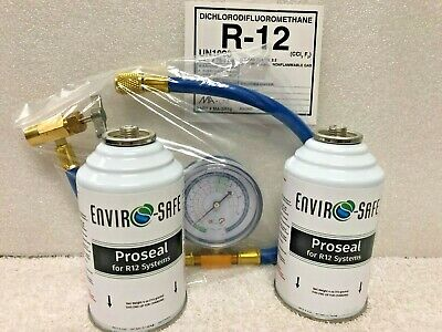R12, R-12, For Refrigerant 12, Proseal, (2) 4 oz Cans Charging Gauge & Hose