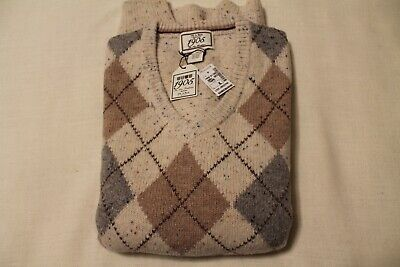 NEW Jos A Banks Sweater Traditional Fit Lambswool Argyle, Taupe, XL