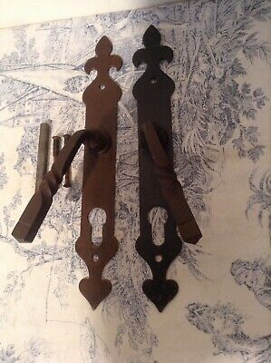 Pair Vintage French Wrought Iron Door Handles and Finger Push Plates