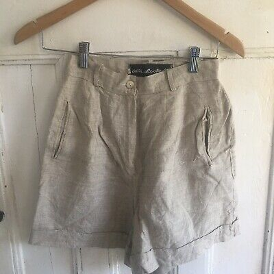 Vintage High Waist Shorts Linen Size 42 Made In Italy Belt Loops Beige Pockets