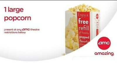 AMC Theatres 1 Large Popcorn - Email delivery - 100% Guaranteed - Exp 12/31/2019
