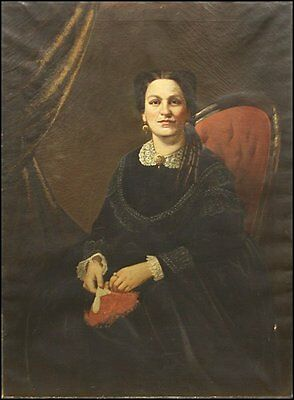 VERY LARGE Fine MUSEUM QUALITY 19th C Oil on Canvas Portrait Painting, ca 1850