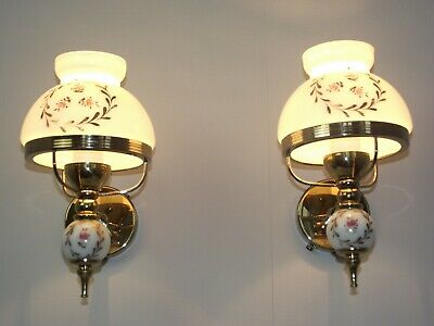 Pair French Country Brass Wall Sconces White & Gold Rose Design Glass Shade 1617