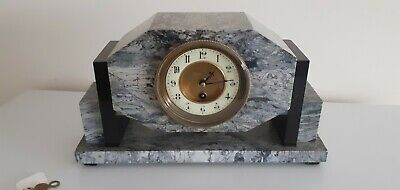 Beautiful Art Deco Style Antique Quality Marble 8 Day Timepiece  Mantle Clock.