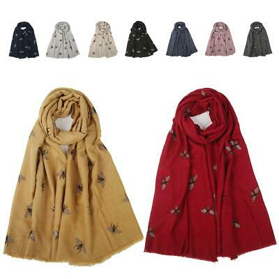 Womens Thick Winter Gold Foil Bee Print Scarf Cotton Soft Warm Neck Scarves