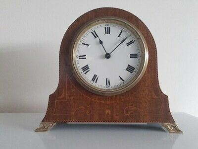 Quality Antique Inlaid Attractive 8 Day Mantle Clock Mantle.swiss Buren Movement
