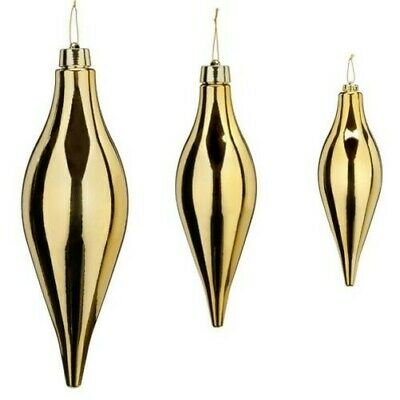 Large Pine Cone Gold 30-50cm Unbreakable Interior + Exterior Icicle Drops