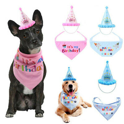 Dog Cat Pet Birthday Hat Headwear Bandana Neckerchief Ties Party Fancy Dress UK