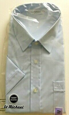 VINTAGE ST MICHAEL M&S BLUE S/S SHIRT 17in 43cm MADE IN THE UK NEW OLD STOCK
