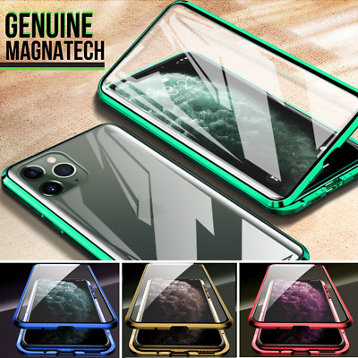 360° FRONT + BACK GLASS Magnetic Phone Metal Case For iPhone 11 PRO MAX X XR XS