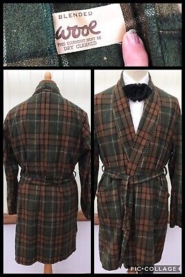 Vintage 1950s Mens Plaid Wool  Check Dressing Gown Robe Smoking Jacket 42/44C