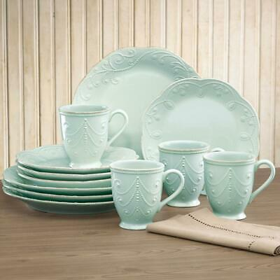 French Perle 12-Piece Ice Blue Dinnerware Set, Dishwasher Safe, Multiple Colors