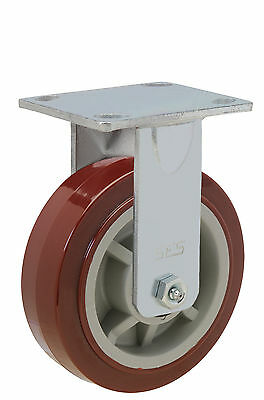 """Fixed Rigid Caster with 3-1//2/"""" x1-1//4/"""" Poly Wheel and Precision Bearing"""