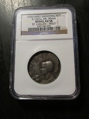 """1928 Swiss Silver Shooting Medal """"St. Gallen"""""""" graded AU58 by NGC"""