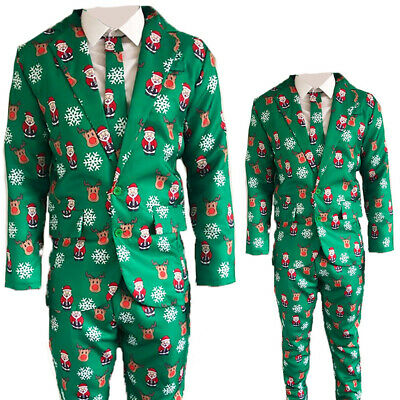 Mens Adults Novelty Christmas Suit Jacket Tie Trousers Festive Xmas Party G