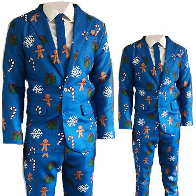 Mens Adults Novelty Christmas Suit Jacket Tie Trousers Festive Xmas Party B