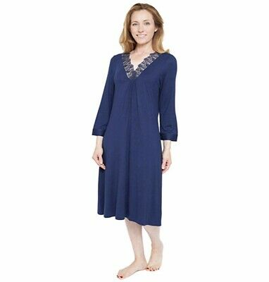 Cyberjammies Nora Rose Adele Navy Blue Lace Trim Nightdress Uk Size 16 Bnwt