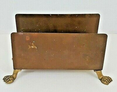 """Brass Letter Holder With Claw Feet Vintage 4"""" Tall x 2 1/2"""" Wide"""