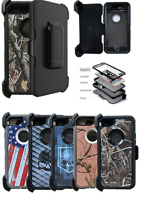 For iPhone 6/7/8/Plus/SE 2 2020 Camo Case With(Belt Clip Fits Otterbox Defender)