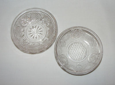2 ORNATE ANTIQUE VICTORIAN EARLY AMERICAN PRESSED GLASS BUTTER PAT DISHES  Eapg