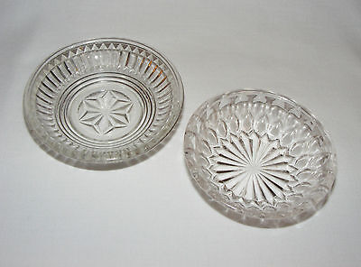 2 Ornate Antique Victorian  Early American Pressed Glass Butter Pat Pats Dishes
