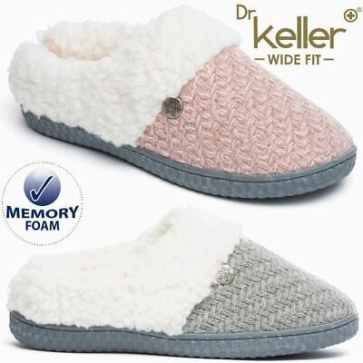 Ladies Wide Fit Slippers Faux Suede Warm Fur Winter Diabetic Orthopaedic Shoes