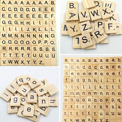 100 Wooden Scrabble Letters Wood Craft Tiles Black Word Alphabet Board Game