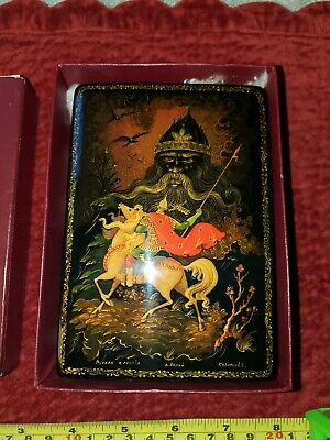Vintage Antique Russian Black Lacquer Hand Painted Box Beautiful and Detailed