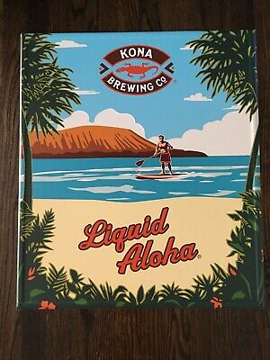 Kona Brewing ~ Tin Tacker~ Metal Beer Sign ~ Liquid Aloha~ Hawaii