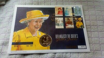 The Queen's Golden Jubilee Isle Of Man 1 Crown Coin In Mercury First Day Cover