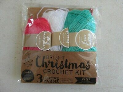 NEW: CROCHET PACK of 3 FESTIVE YARNS Plus a PINK 3.5 mm CROCHET HOOK