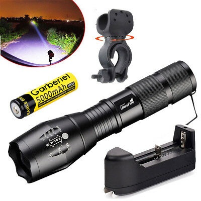 Tactical T6 LED Flashlight 900000Lumen 5 Modes High Power Zoomable 18650+Charger