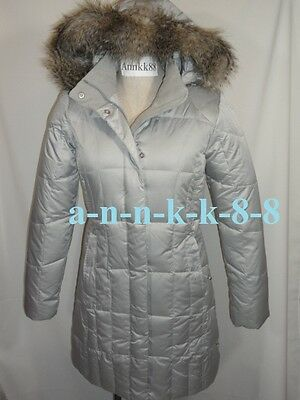 NWT Eddie Bauer 12 Women's Lodge Down Parka Coat 550 FP Faux Fur Hood Silver
