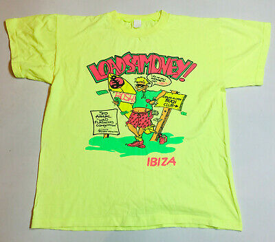 RARE 1990s VINTAGE T Shirt Retro Hipster Surfer Ibiza Party BRIGHT FLUORO YELLOW