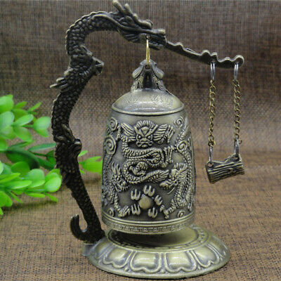 Brass Bronze Carved Collectible Statue Dragon Bell Decorative Gift Clock Home