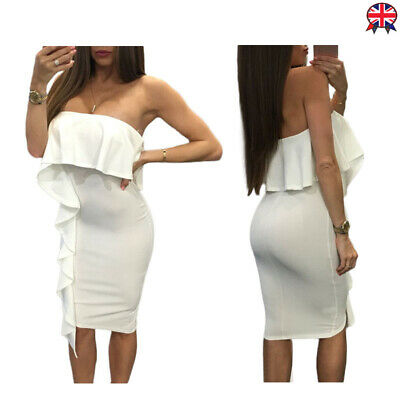 Ladies Ruffle Trim Strapless Bodycon Midi Dress Off Shoulder Womens Solid Party