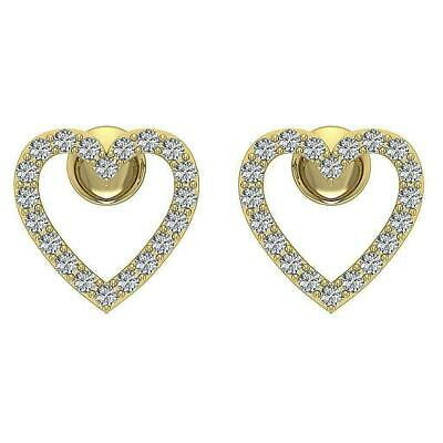 1.50 Ct Round Cut Diamond 14k Yellow Gold Over Heart Shaped Womens Stud Earrings