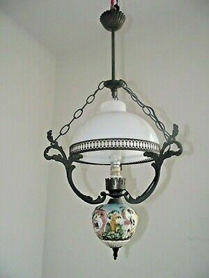 French Ceiling Lantern Metal Frame White Glass Shade Decorative Lovers Finial