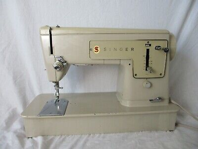 Vintage Model 449 Singer Electric Sewing Machine with Accessories & Bag