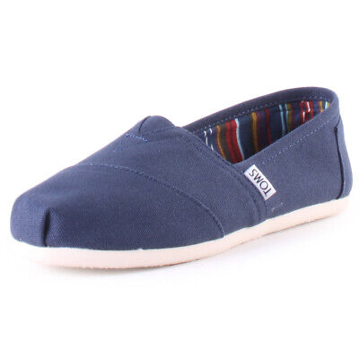 Toms Classic Womens Navy Canvas Slip On Shoes