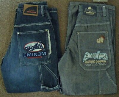 Homies Jeans SNOOP DOGG + EMINEM  Baggy Denim 2pc LOT  fit 27W ~ Boys sz 8 to 9