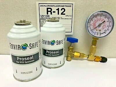 R12, R-12, For Refrigerant 12, Proseal, (2) 4 oz Cans Charging Gauge
