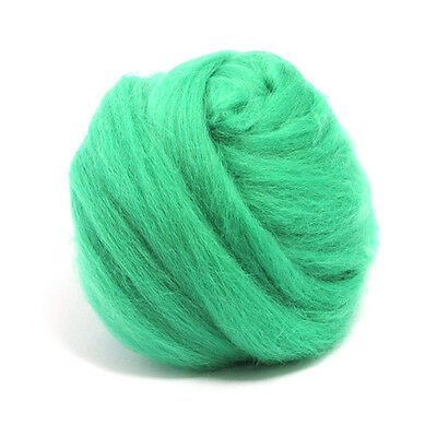 50g DYED MERINO WOOL TOP MINT GREEN DREADS 64's SPINNING FELTING ROVING