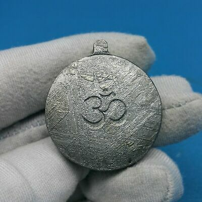 Meteorite Muonionalusta Pendant Tibetan 9-Gung & Om 2 Different Sided Symbol