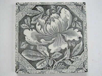 Antique Victorian Grey Transfer Print Floral Tile - Marsden Tile Co? - C1880