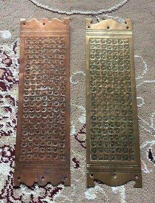 2 X Original Late 19th Or Early 20th Century Finger Plates 1 Brass, 1 X Copper?